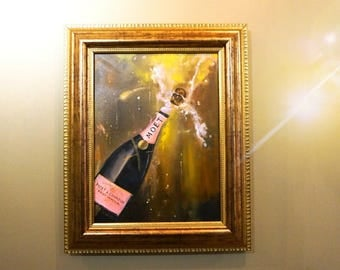 Party Moet,By Eunistt, Champagne Small oil painting, Living Room Decor, Palette Knife Painting, Modern Oil Painting