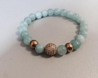 Handmade bracelet with rhinestones and natural gemstone