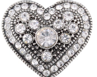Heart Rhinestone Snap Charm