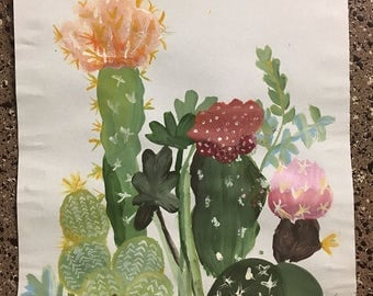Handpainted Wall Decor - Floral Cacti
