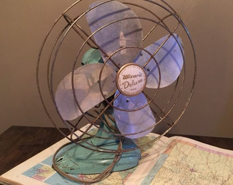 "Mid-Century Teal Wizard Deluxe 12"" Oscillating Fan"