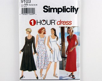 Simplicity Pattern 9103, Pullover Flared Dress, Sleeve & Length Variation, Sizes 10, 12, 14, 16, Scoop Neckline, 1 Hour Dress Pattern, Uncut