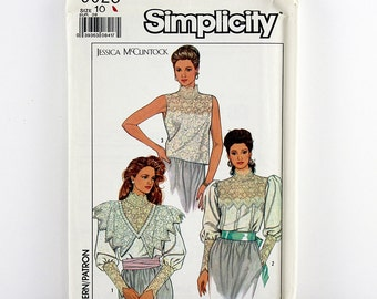 Simplicity Pattern 9025 Misses' Lace Blouses, Sizes 10, Uncut, Jessica McClintock, Vintage Sewing Pattern, Galloon Lace Collar, Lace Cuffs