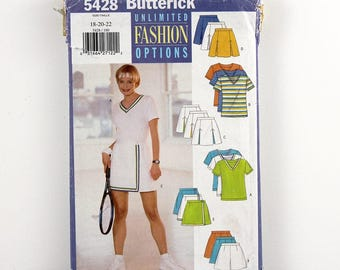 Butterick Pattern 5428 Tennis Top, Skirt, Skort & Shorts, Size 18, 20, 22, , Easy Sewing Pattern UNCUT, Knit Tennis Outfit, Pleats