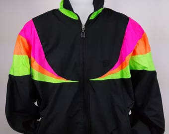 Neon Windbreaker Tracksuit Jacket Pants 90's 80's Vintage Retro Color Block