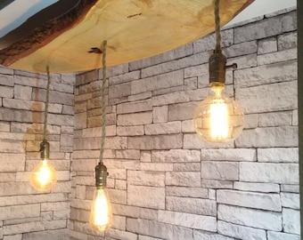 Handmade wooden light with live edge