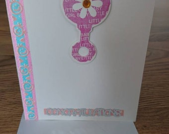 Baby girl congratulations handmade card dummy new baby pink