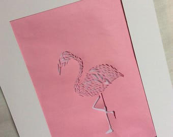Lucy Flamingo  A4 papercut