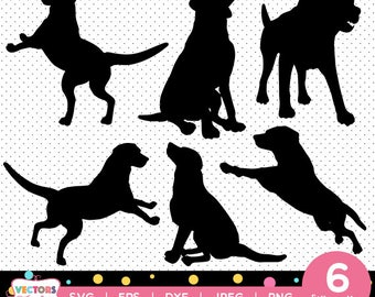 Dogs Labrador svg silhouette pack - Dogs Labradors vector clipart digital download svg, png, jpg, eps