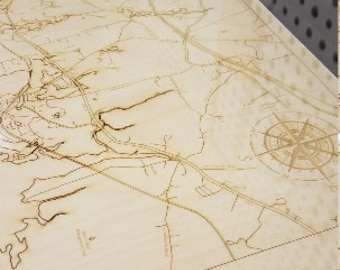Custom Topographic or Bathymetric Laser cut Map of your city/town