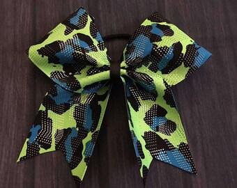 Blue Fade Semi Glitz Cheerleading Bow
