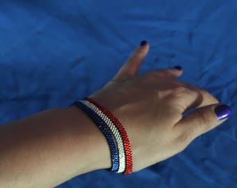 Triple Skinny Peyote Bracelet (Triplet) Memorial, Veterans, Independence Day, 4th of July, Patriot, National, Nautical, U.S.A., America, U.S