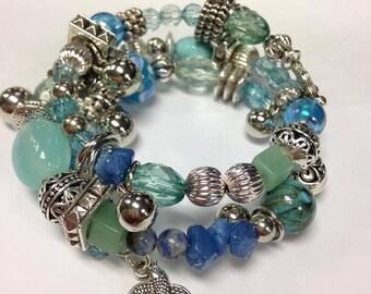 """Memory Wire Bracelet - """"Blue"""" Birds"""