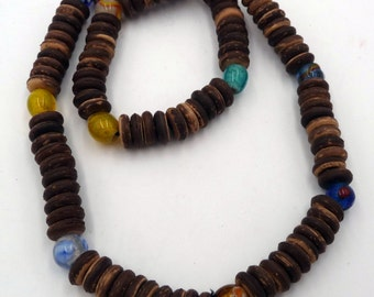 Necklace style surfer/surfing/men pearls of glass and wood coconut/Coco