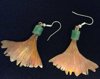 Copper, with faceted chalcedonay drop earrings