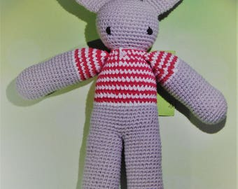Amigurumi Bunny Rabbit grey red