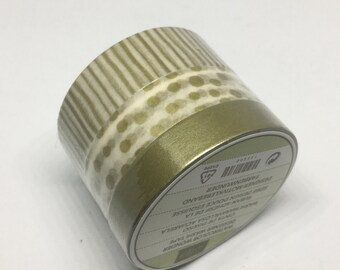 Washi Tape - Gold & White Washi Tape - Polka Dot - Striped Tape - Solid -  Decorative Tape - Adhesive Tape - Designer Washi Tape
