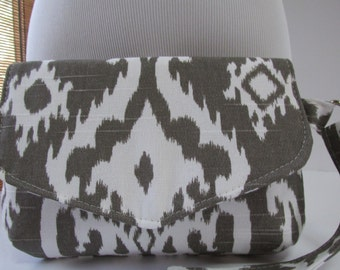 Small Brown/White Ikat Clutch, Wristlet, Makeup Bag, Purse