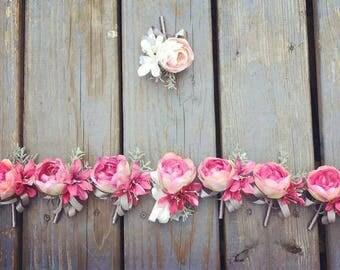 Peony Rose Silk Flower Corsage & Boutonniere // Wedding / Bridesmaids / Prom
