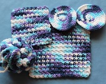 Crochet Spa Gift Set Loofah Washcloth Facial Rounds