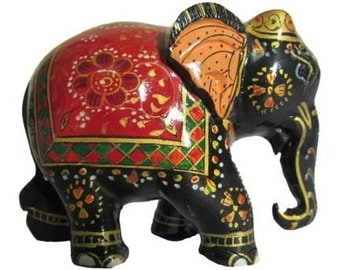 Royal Red Painted Elephant Statue