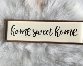 Hand lettered Home Sweet Home wood sign