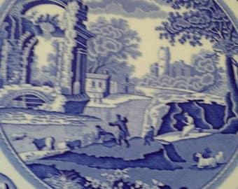 "Price reduced Spode cake plate.English blue white countryside scene 11 1/2 "" diameter Grandma China cabinet find."