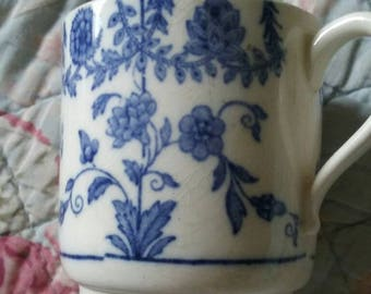 Antique Vintage Victorian blue transfer cup.exquisite floral garlands motifs. So sweet and delicate  .perfect for doll .price reduction