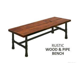 Farmhouse Bench, Rustic Wood & Pipe Bench, Industrial Bench, Urban Wood Bench, Rustic Bench, Harvest Bench, Bench Seating, Wooden Bench