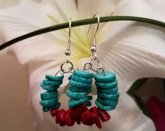 Beautiful Turquoise And Red Earrings