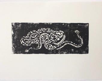 Schlange A3, Holzschnitt Bild