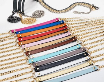 2.5cm Genuine Leather Purse Strap Adjustable Crossbody Shoulder Replacement Bag Wallet Handle Chain Metal Handle Plated Link Clutch chain