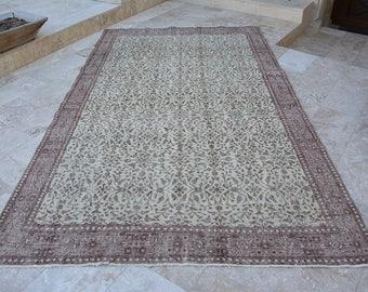 6.3' x 10.3' Large Size Vintage Area Rug Vintage Turkish Rug Floral Designs Wool Rug Naturel Dye Turkish Rug Undyed Wool Rug Code 234