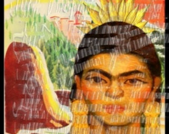 Rare Frida Kahlo Painting Fabric Art Block Latino Portrait Mexican Picture Quilting FK91