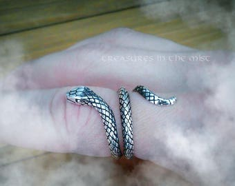 Snake Ring, Wrap Ring, Animal Ring, Viper, Snakes, Reptile, Silver Snake, Serpent Ring