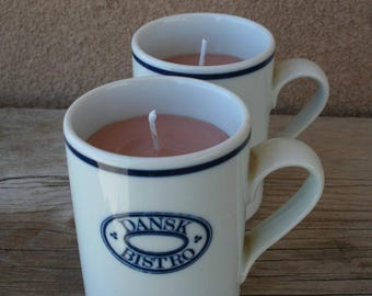 Cofee-scented candles in vintage mugs-set of two