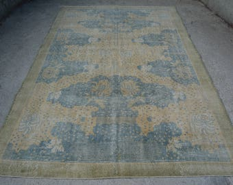 Oushak Unique Faded Area Rug Turkish Pale Antique Rug 6.7 x 10.1 Ft