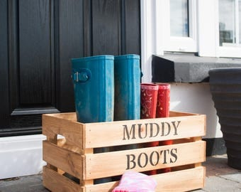 Wooden storage box, muddy boot crate, personalised crate, home storage.