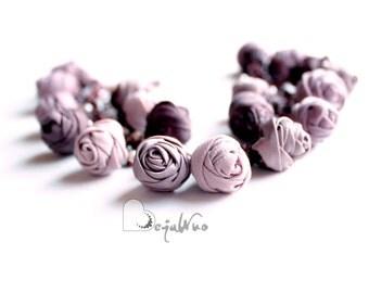 Fabric bracelet Rose bracelet Coffe textile bracelet Fabric jewelry Flower bracelet Floral jewelry Clusters bracelet Friendship bracelet