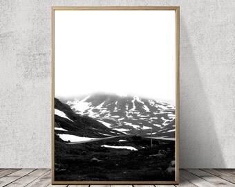 A2 Scandinavian Snowy Mountain Art Print