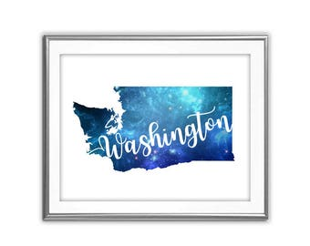 SALE-Galaxy Washington State-Digital Print-Wall Art-Digital Designs-Home Decor-Gallery Wall-Typography-Blue Galaxy State Printable