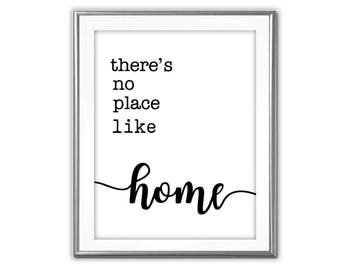 SALE-There's No Place Like Home -Digital Print-Wall Art-Digital Designs-Typography- Quote Printable- Literature Print-Wizard Of Oz Quote