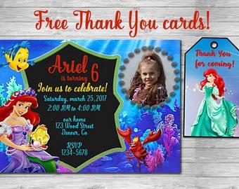 Little Mermaid INVITATION with PHOTO Mermaid birthday Mermaid party Mermaid invitation birthday Ariel invitation Under the sea Thank you