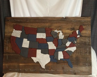US maps with reclaimed wood