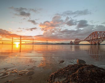 Sun setting on the Forth Crossings