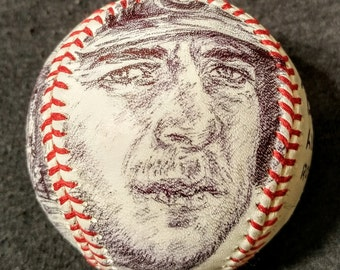 KRIS BRYANT Art Portrait Baseball. Original pen and ink drawings on new, Official Major League Baseball;