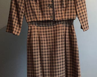 Vintage, Black/brown, 1960, Dress with Jacket, Small
