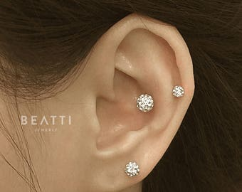 Crystal ball Piercing/Tragus Earring/Cartilage earring /Tragus stud/Crystal piercing/CZ stud erring/Ball piercing/Set of 3