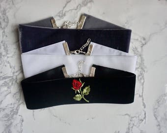 3 Velvet Chokers • black velvet choker with red rose embroided • boho chokers • floral jewelry • bundle choker • thick choker