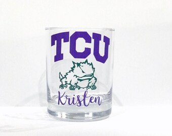 Custom whiskey glass/ TCU/ Birthday/ Nickname/ custom glass/ personalized glass